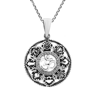Mystic Aum with the Eight Auspicious Signs Sterling Silver Necklace