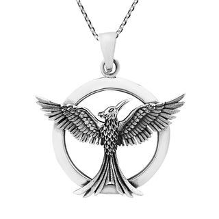 Sterling silver rising phoenix fire bird with snakes necklace free rising phoenix reborn sterling silver necklace thailand mozeypictures Image collections