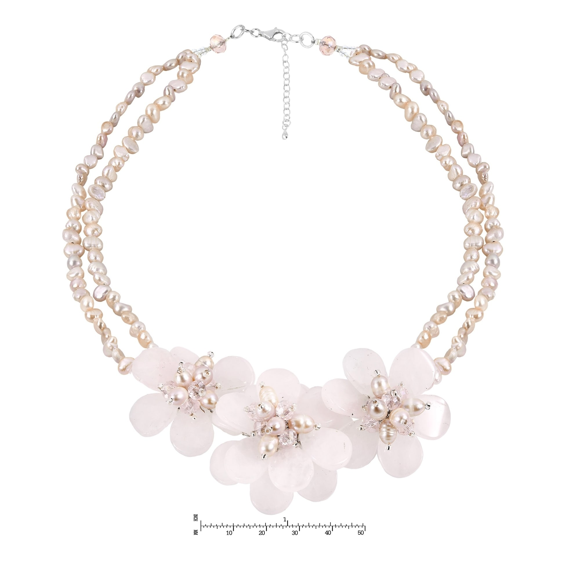 pink boho necklace Baby Shower jewelry Semi Precious Pink quartz necklace Elegant Necklace pearl necklace Pearl Pale pink