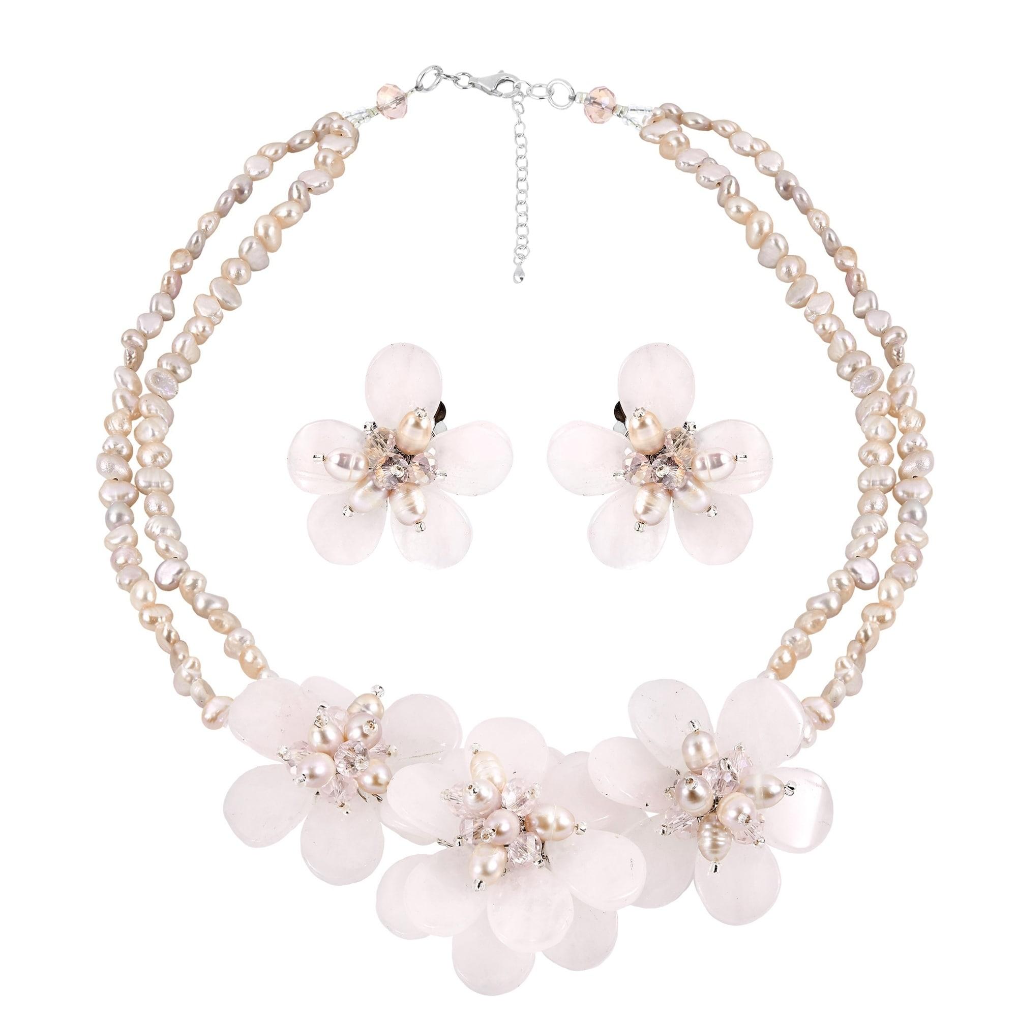 Shop Handmade Elegant Pink Quartz Stone And Pearl Flower Necklace