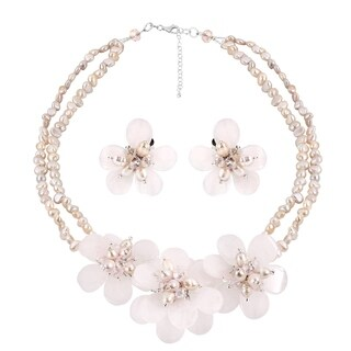 Elegant Pink Quartz Stone Pearl Flower Necklace Earrings Jewelry Set