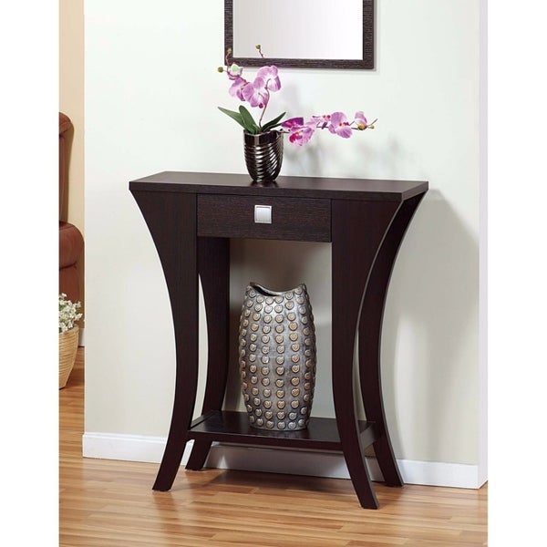 Stylish Console Table With 1 Drawer, Dark Brown