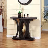 Stylish Console Table With Base Shelf, Dark Brown