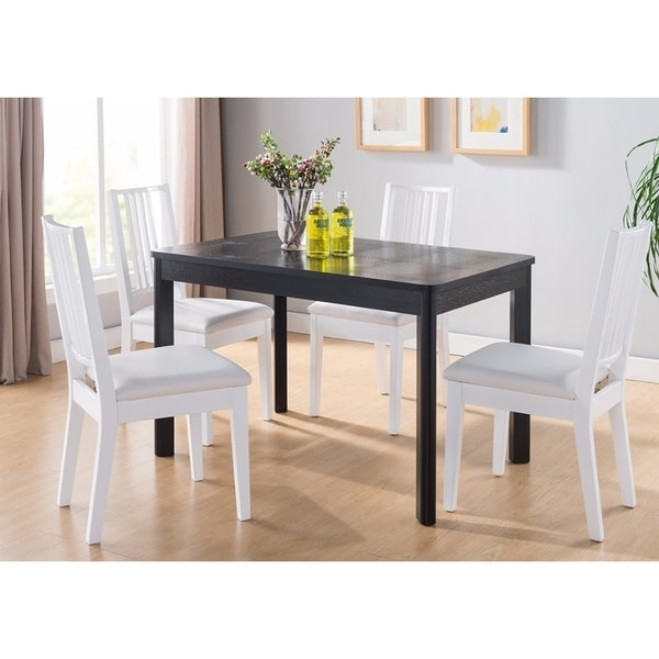Benzara Modern Black Faux-crocodile Finish Wood Dining Table