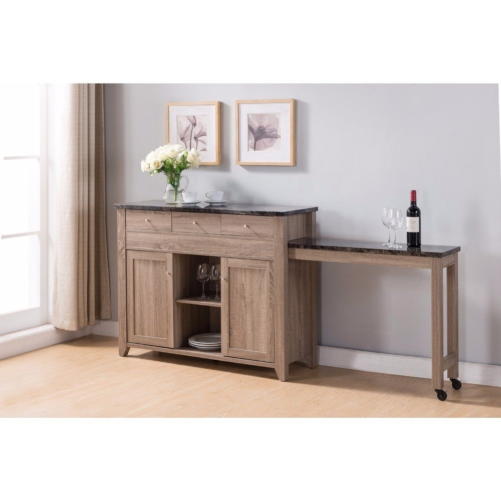 Wooden Buffet Table With Extendable Side Light Brown