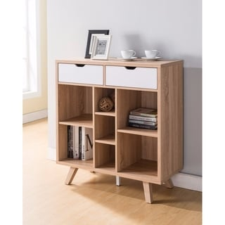 Benzara Brown Wood Buffet Table with Cutout Handle Drawers
