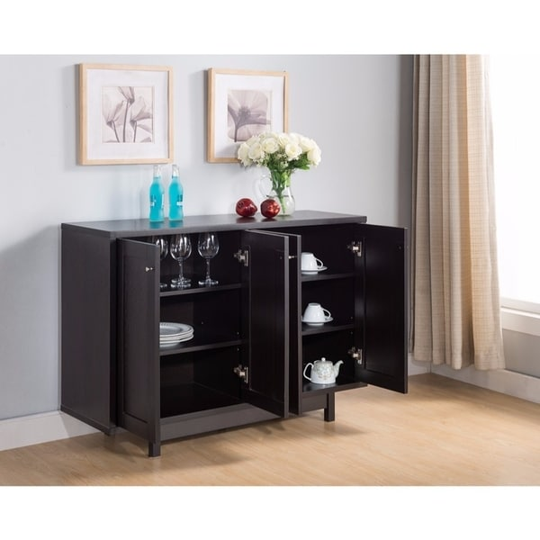 Benzara Stylish Dark Brown Wood Buffet Table with Four Doors