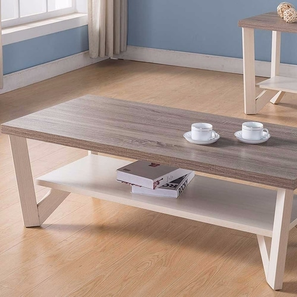 Shop Stylish Center Display Coffee Table, Brown And White   Free Shipping  Today   Overstock   18606280