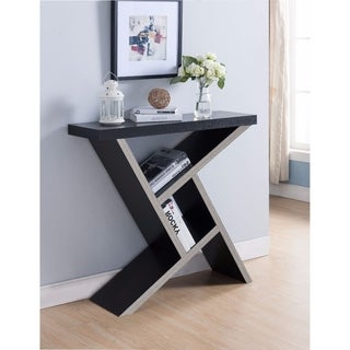 Brown Asymmetrical Shelf Wood Console Table