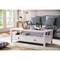 Attractive Coffee Table With Drawers, White