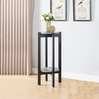 Alluring Large Plant Stand With Shelves, Black