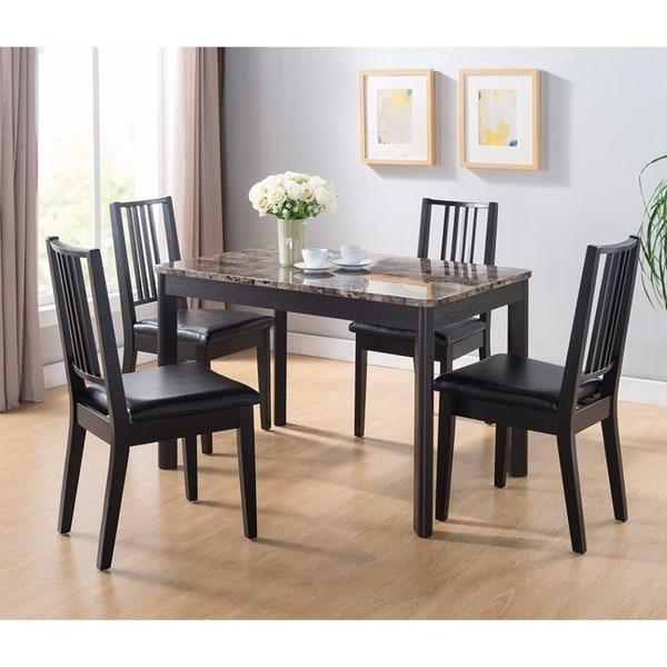 Benzara Splendid Dark Brown Faux Marble Top Wood Dining Table
