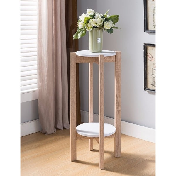 Natural Wood Plant Stand With Two Round Shelves Light Brown And White