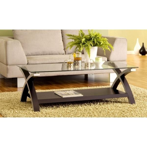 Cross Legs Modern Glass Coffee Table, Dark Brown