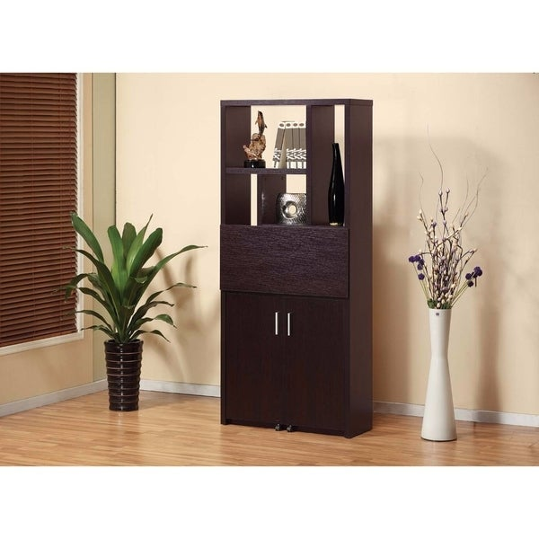 Contemporary Style Display Cabinet Bookcase With Fold Down Desk