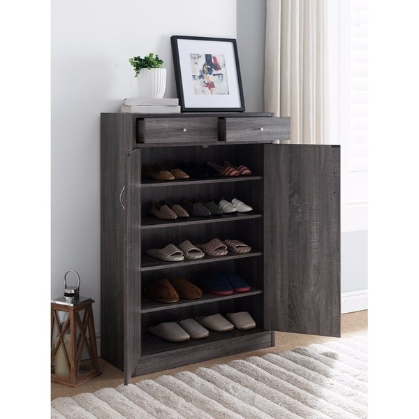 Merveilleux Shoe Cabinet With Spacious Storages, Gray
