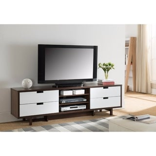 Dual Tone TV Stand With Cutout Handle Drawers, Brown and White