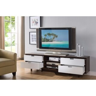Sophisticatedly Designed TV Stand With Four Drawers, Dark Brown and White