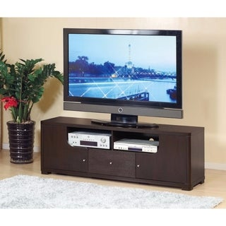 Benzara Modern Red Cocoa Finish Wood and Metal TV Stand