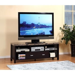 Deluxe Faux Marble Top TV Stand With 5 Open Shelves.
