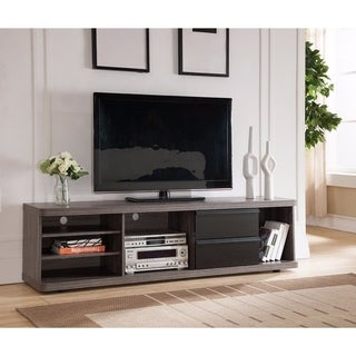 Spacious Adorning TV Stand With Hidden Legs, Black and Gray