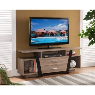 Striking TV Stand With Storage Option, Black and Light Brown