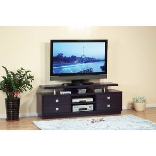 Benzara Modern Style Dark Brown Wood TV Stand with 4 Drawers and 2 Open Shelves