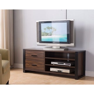 "47"" Width TV Stand With Frame Design Legs, Black and Dark Brown"