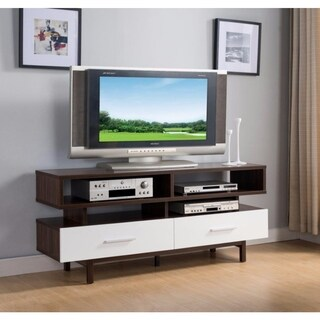 Benzara Brown and White Wood TV Stand