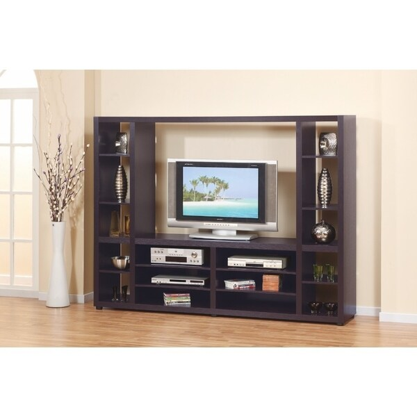 Benzara Glamorous Dark Brown Wood Solid Design Entertainment Center
