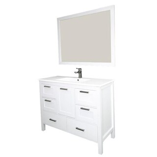 Siena 48-inch Wood Vanity With Solid Doors and Ceramic Sink