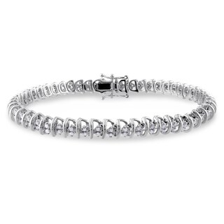 Miadora Sterling Silver 1ct TDW Diamond Spiral Tennis Bracelet - White