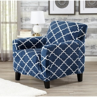 Printed Velvet Plush Form Fit Stretch Chair Slipcover Magnolia Collection by Great Bay Home