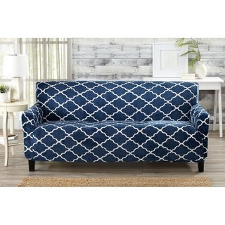 Great Bay Home Printed Velvet Plush Form Fit Sofa Slipcover