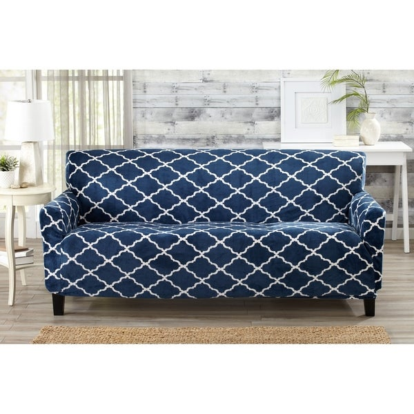 Printed Velvet Plush Form Fit Stretch Sofa Slipcover Magnolia Collection by Great Bay Home