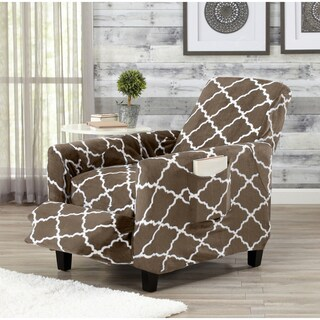 Great Bay Home Printed Velvet Plush Form Fit Recliner Slipcover