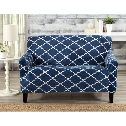 Great Bay Home Printed Velvet Plush Form Fit Loveseat Slipcover