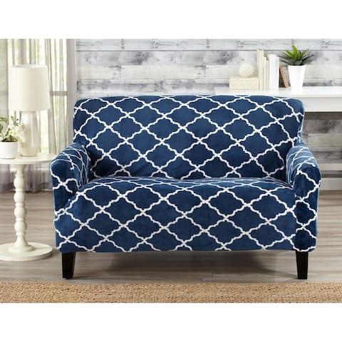 Great Bay Home Printed Velvet Plush Form Fit Loveseat Slipcover