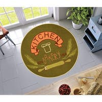 Well Woven Kitchen Modern Look Green Non-Skid Backing Round Rug - 4'