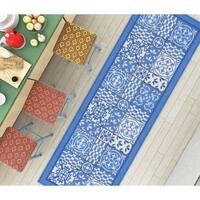 "Well Woven Modern Vinatge Tile Print Blue Non-Skid Backing Mat Accent Rug - 1'8"" x 5'"