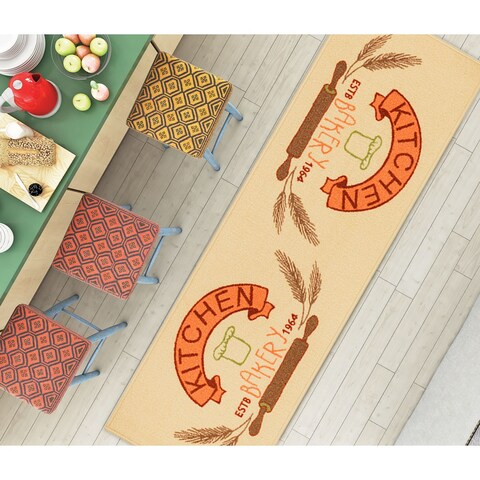 "Well Woven Kitchen Modern Look Non-Skid Backing Mat Accent Rug - 1'8"" x 5'"