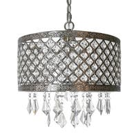 "River of Goods 14.25"" Silver and Crystal Lattice Chandielier"