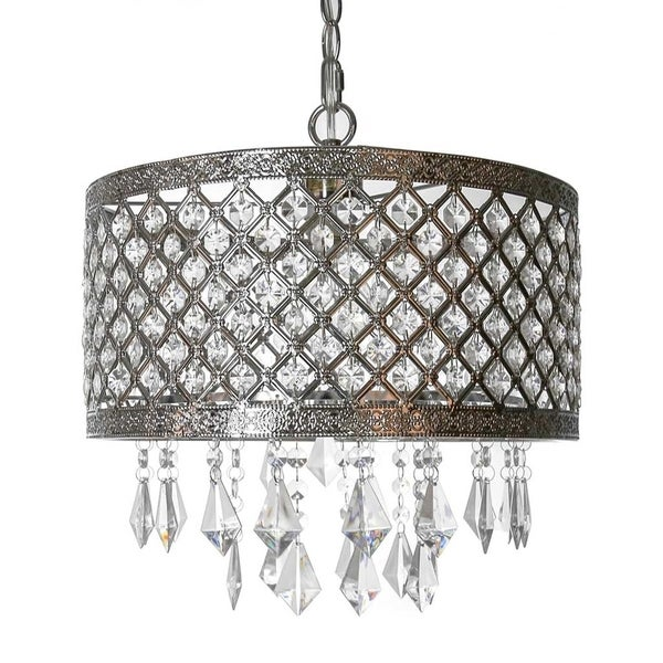 River of Goods Silver Metal/Crystal 14.25-inch Lattice Chandielier