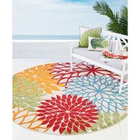Nourison Aloha Multicolor Floral Indoor/ Outdoor Area Rug - 7'10 Round
