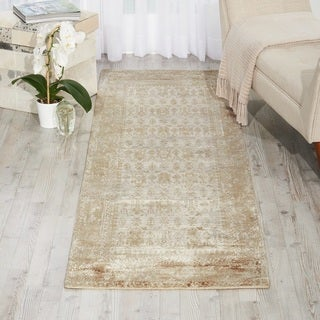 Kathy Ireland for Nourison Desert Skies Beige Rayon from Bamboo Contemporary Runner Rug - 2'3 x 8'