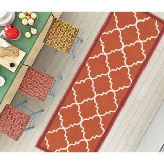 "Well Woven Modern Bold Lattice Non-Skid Backing Mat Runner Rug - 1'8"" x 5'"