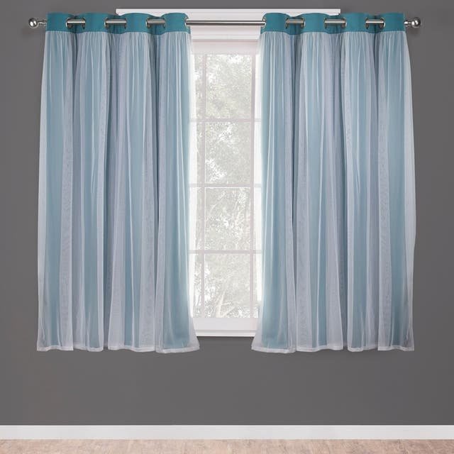 ATI Home Catarina Layered Curtain Panel Pair with grommet top - 52x63 - Turquoise