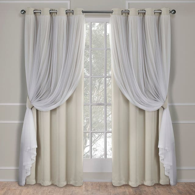 ATI Home Catarina Layered Curtain Panel Pair with grommet top - 52x84 - Sand