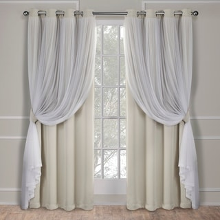 ATI Home Catarina Layered Curtain Panel Pair with Grommet Top (52W x 96L - Sand)