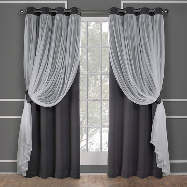 ATI Home Catarina Layered Curtain Panel Pair with grommet top - 52x96 - Black Pearl